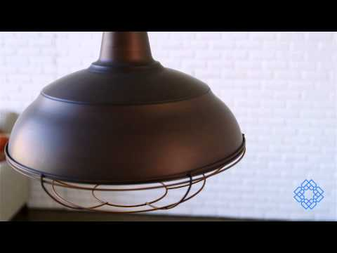 Video for Neo-Industrial Rubbed Bronze One-Light Pendant