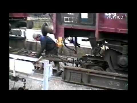 DDR 1987 Fichtelbergbahn  Ein Güterzug wird vorbereitet mit Rollwagen.