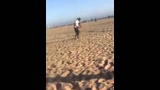 Rai Benjamin and Phillip Powell in California play fighting