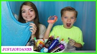 3 Color Glue Slime Challenge / JustJordan33