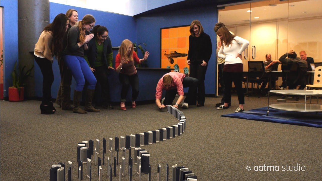 Watch 10,000 iPhones Fall Like Dominoes