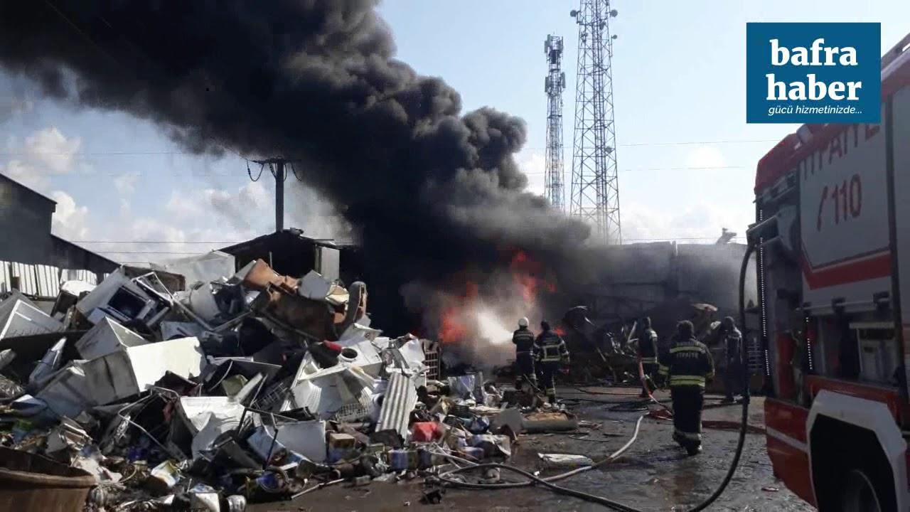 Bafra'da Hurdacı Arastasında Yangın