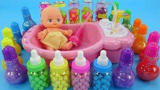 Learn Color by playing All Colors of Slime|Bath Toys,Kinder Joy eggs,Iollipop, Rainbow Slime