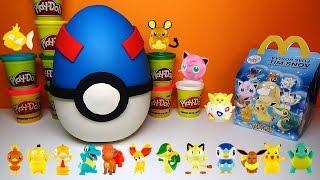 Giant POKEMON Play-Doh Surprise Egg with European McDonald's Happy Meal POKEMON Toys & Figures