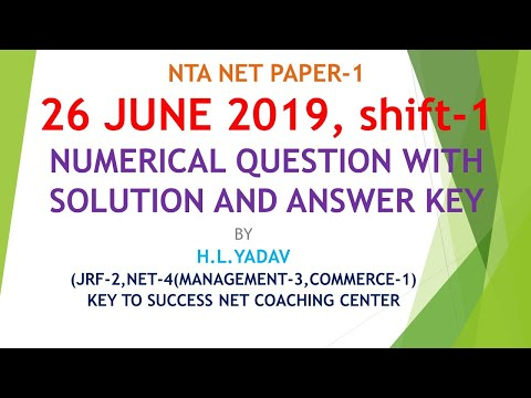 26 June 2019 NTA NET shift 1  paper 1 question with solutions and answer key