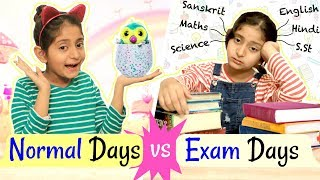 "Follow my Insta for BTS: https://tinyurl.com/MyMissAnand  Its Exam time. So today's video Normal Days Vs Exam days is all about it showing that how we are in our Normal days and how we react during our Exam days.  I am sure you'll relate to this video. Do LIKE & SHARE it with your friends!!. Aur iss bar Target hai 2,00,000 LIKES.  & BEST OF LUCK for your Exams!!  CREDITS : Written By  - Nisha Topwal Directed by - Vikram Chaudhary DOP - Vikram  Chaudhary Edited By - Shubham Raj Verma  Actors - Anantya Anand  My AWESOME Channels:  SUBSCRIBE To ShrutiArjunAnand - https://goo.gl/1gmCTA SUBSCRIBE to TOY STARS - https://goo.gl/HyGNLf SUBSCRIBE To MyMissAnand - https://goo.gl/mnBhXg SUBSCRIBE To Anaysa - https://goo.gl/5A2h93 SUBSCRIBE To CookWithNisha - https://goo.gl/Kep2iS SUBSCRIBE To LafanGAY - https://goo.gl/XRHDrq  XoXo Miss Anand  NEW UPLOADS every FRIDAY!!!  AUDIO DISCLAIMER/CREDITS – ""Music from Epidemic Sound (http://www.epidemicsound.com)""   ** funy blogger youtube family vlog comp laugh then sketch good vs reality roleplay india vlog shruti anand comedy types of people in real life daily vlog funny videos 2018 anantya mymissanand funny girl shrutiarjunanand travel vlogs vines humor blogging trending now bloopers behind the scenes tv serials colgate hindi blog tv series good manners movie review bad citizen 2m"