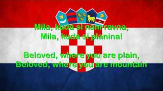 Croatia National Anthem English lyrics