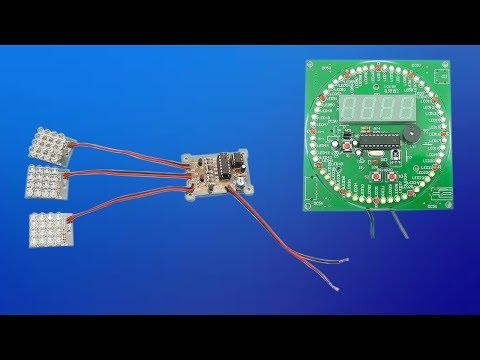Armado de Circuito LED Intermitente y Reloj electrónico Giratorio Multifunción