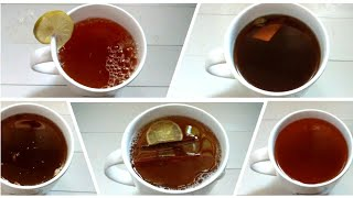 5 Types of Black Tea Recipes | Black Tea with and with out Tea Leaf | Tea Recipe | Beauty Cooking