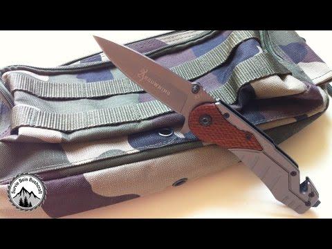 Couteau de Survie BROWNING Lame Acier 9 cm Manche Acier & Résine 11,5 cm Outdoor