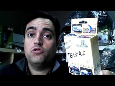 Parche Reparador Auto Adhesivo Tear-Aid. Lonas, Caucho, Neopreno, Nylon, tejidos y plásticos.