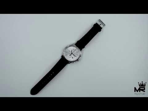 Hugo Boss Herren Uhr Chronograph 1513282 Silber Schwarz Leder Armbanduhr