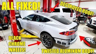 Rebuilding The DESTROYED Aluminum Body On My Salvage Tesla & Price Reveal! Cheap Performance Tesla!