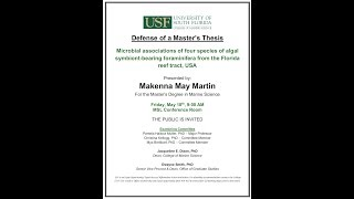 Makenna May Martin, For the Master's Degree in Marine Science