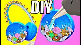 DIY НАУШНИКИ Океан // Летний DIY / ЛАЙФХАКИ с термоклеем для хендмейда \  Headphones