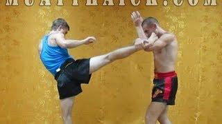 Тайский бокс на улице - защита от хай кика в голову
