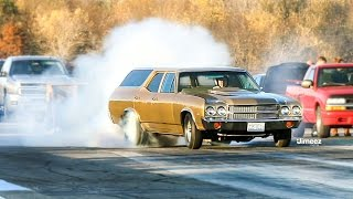 GROCERY GETTER EMBARRASSES GTR! 10SEC STREET SLEEPER! '70 CHEVELLE WAGON! BYRON DRAGWAY!