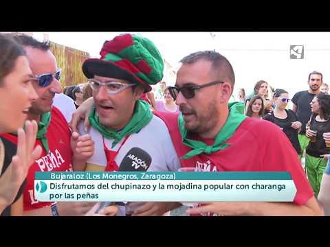 Chupinazo de las fiestas de San Agustín en Bujaraloz (Zaragoza)