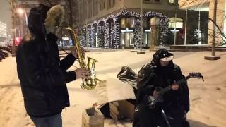 Саксофон и Гитара. Уличные музыканты