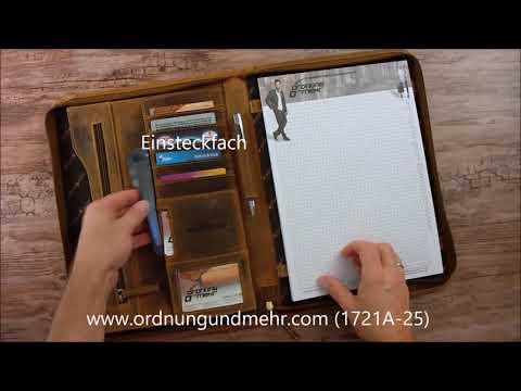 Greenburry A4 Schreibmappe Leder Vintage antik braun 1721A-25
