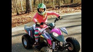 9 Year Old Girl Gets A Polaris Quad, Fun!!