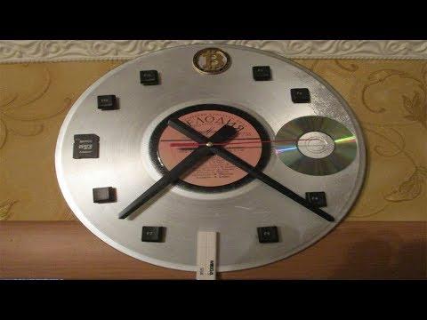 Часы из виниловой пластинки. Vinyl record clock