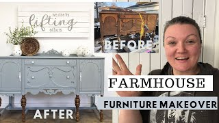 Farmhouse Furniture Makeover BEFORE & AFTER | Antique Sideboard | DIY Furniture Trash To Treasure
