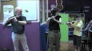 Trío de flautas. Audición de la escuela de Juventudes Musicales de Alcalá