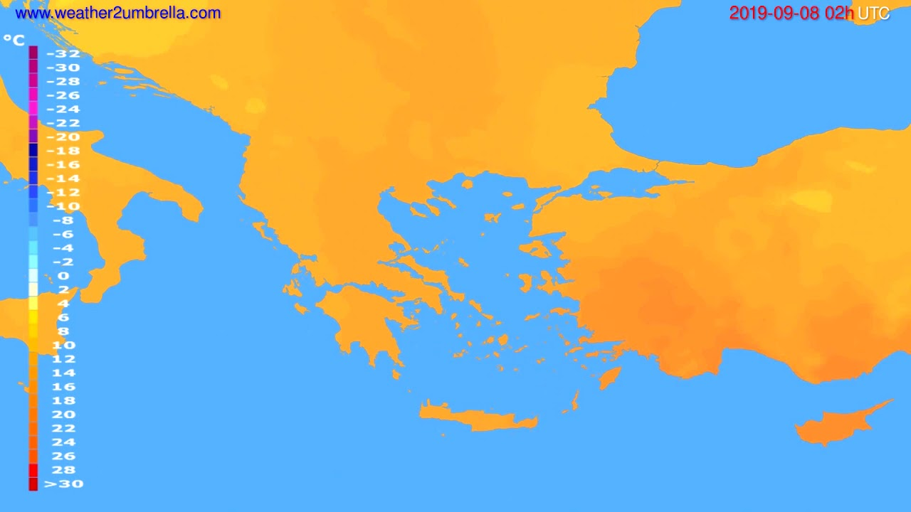 Temperature forecast Greece // modelrun: 12h UTC 2019-09-05