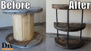 Cable Spool Projects:  Cable Reel End Table - Recycled Furniture Project