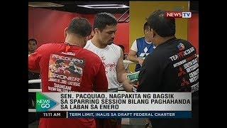 NTG: Sen. Pacquiao, nagpakita ng bagsik sa sparring session bilang paghahanda sa laban sa Enero