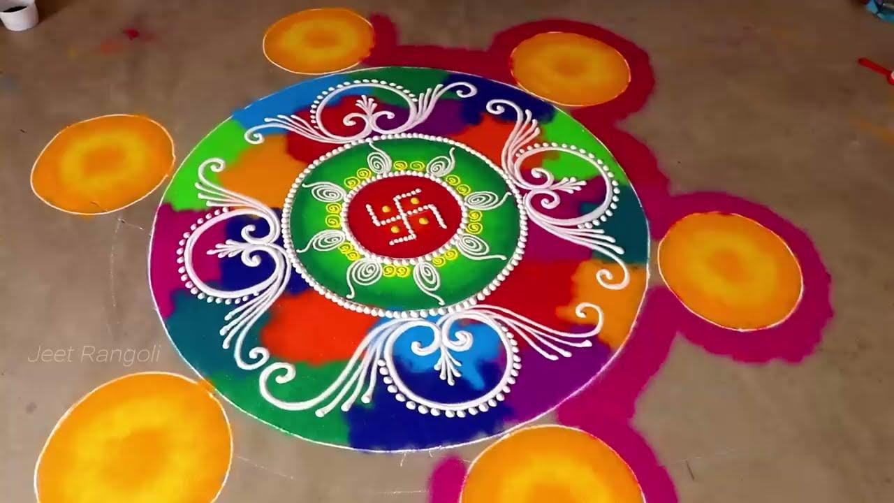 attractive mulicolored sanskar bharti rangoli design by jeet rangoli