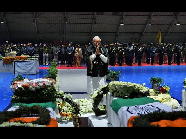 WATCH : PM Modi paying homage to the martyred CRPF Jawans, at Palam airport, in New Delhi