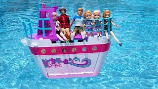 Cruise Ship ! Elsa And Anna Toddlers On The Boat - Barbie Is Captain - Vacation - Pool - Water Fun