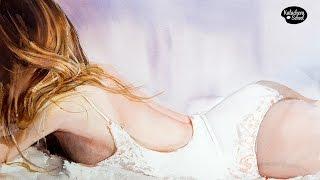 Классный рисунок лежащей девушки акварелью - Видео онлайн