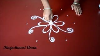 very easy kolam rangoli designs for friday || simple quick muggulu for beginners step by step