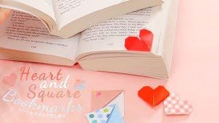DIY  Heart And Square Bookmarks*読書女子ならしおりもかわいく!ハートとスクエアのしおりの作り方