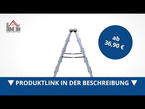 Homcom Stehleiter Aluleiter Trittleiter Haushaltsleiter 4 Stufen - direkt kaufen!