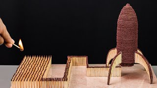 Space rocket built with matches! Amazing Chain Reaction
