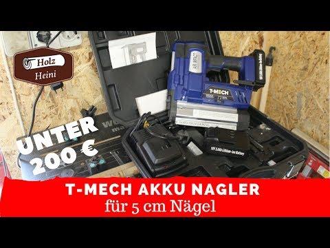 T-Mech Akku Nagler Tacker 18 V 2 Ah für unter 190 € für 5 cm Stiftnägel