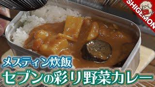 メスティンで自動炊飯&セブン-イレブンの彩り野菜カレーを食べる/HOゲージ鉄道模型SHIGEMON