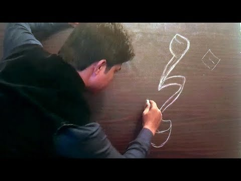 Chalk Calligraphy, How to Write with two Chalk