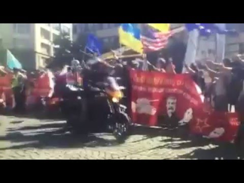 Prague aggressively meet bikers from Russia