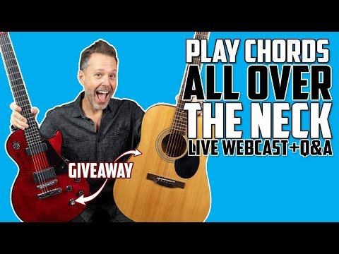 How To Play Chords ALL Over the Neck - LIVE Webcast (Dark Fire Guitar Giveaway)