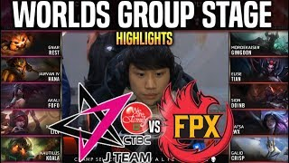JT vs FPX Highlights Worlds 2019 Group Stage Day 1 - J TEAM vs FunPlus Highlights Worlds 2019