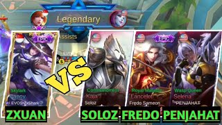 ZXUAN vs FREDO, SOLOZ and PENJAHAT - RANKED MATCH