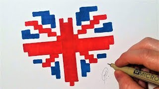 Drapeau anglais Coeur - Pixel Art (facile)