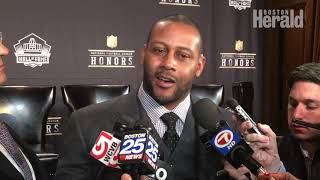 Former New England Patriots Cornerback Ty Law reacts to his election to Pro Football Hall of Fame