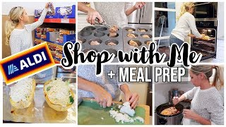 ALDI GROCERY SHOP WITH ME + HAUL WITH EASY HEALTHY MEAL PREP + CROCKPOT MEAL
