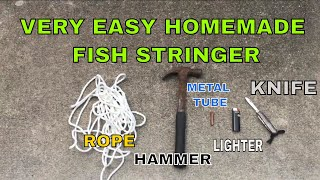 DIY VERY EASY! HOW TO  Make a FISH STRINGER to keep your catch. HOOKEM IN THE MOUTH KAYAK FISHING !
